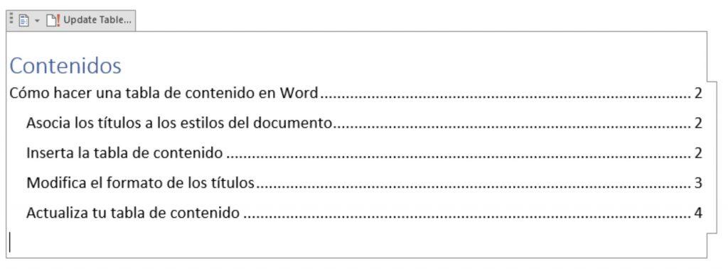 Asocia los títulos a los estilos del documento