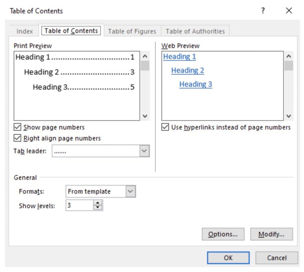 pestaña referencias, luego hacer clic en tabla de contenidos