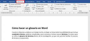 Cómo hacer un glosario en Word